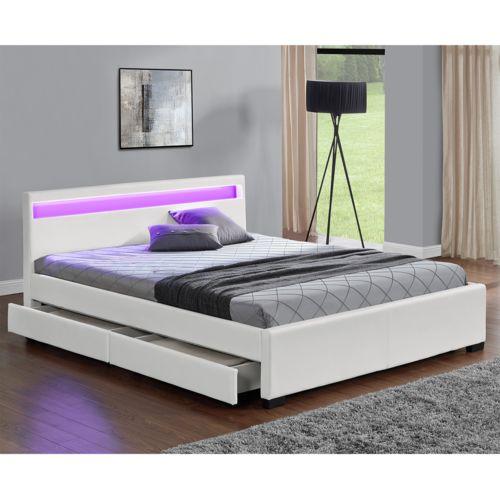 Concept Usine Lit Enfield Blanc Led et rangement tiroirs 160×200