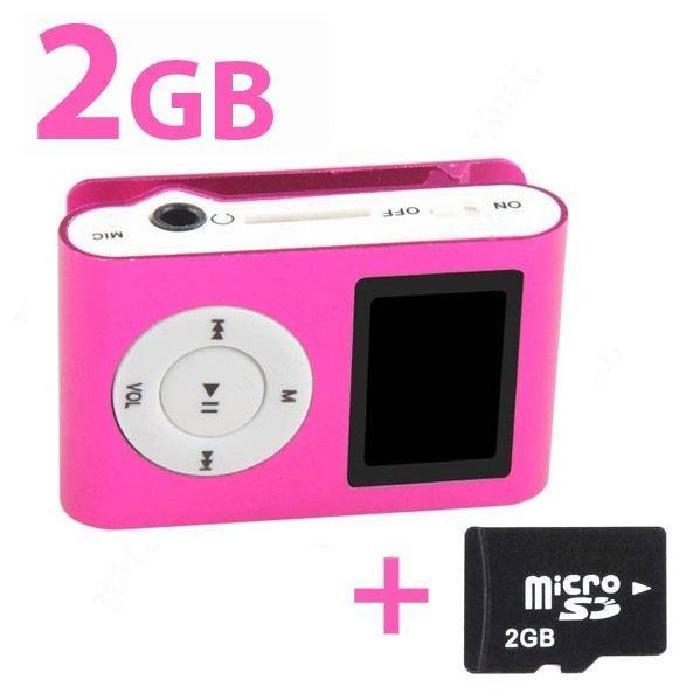 Lecteur MP3 clipable avec écran digital (rose) ? lecteur mp3