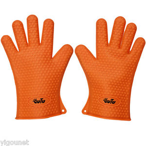OUTU 1 Pair Silicone BBQ Grill Oven Gloves Oven Mitts BBQ