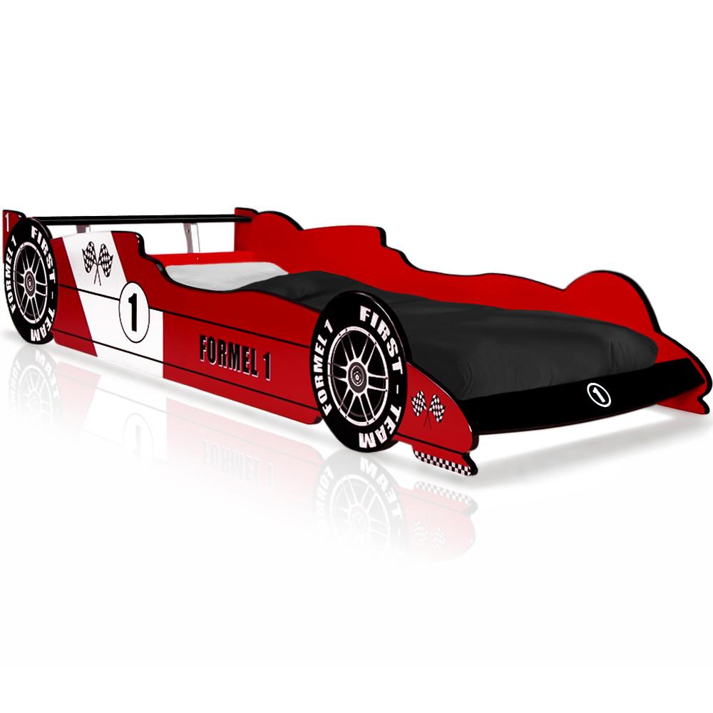Lit Enfant Voiture F1 Rouge Auto Garçon Sommier Lattes