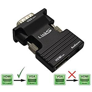 LinkS Active HDMI Female to VGA Male Adapter w 3Ft 3.5mm Stereo cable