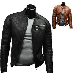 Veste blouson homme simili cuir / Noir ou Camel / Style motard / S M L