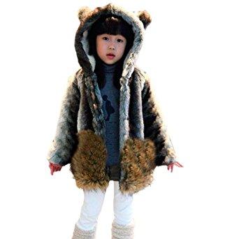 Manteau d'hiver à capuche Fausse Fourrure Chaud Souple Parka Veste