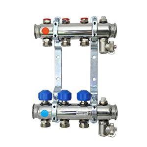 Acier inoxydable 6 ports chauffage par le sol collecteur avec vannes