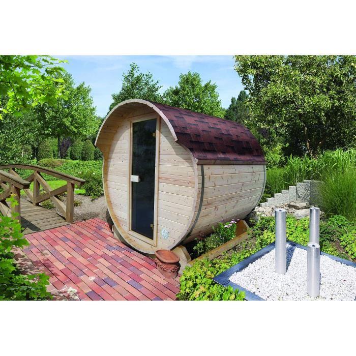Sauna d extérieur 42 mm Tonneau 4.5 m3 KARIBU R Achat / Vente