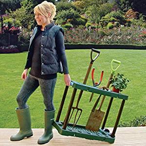 de jardin avec roulettes pour pelle/râteau/fourche: Jardin