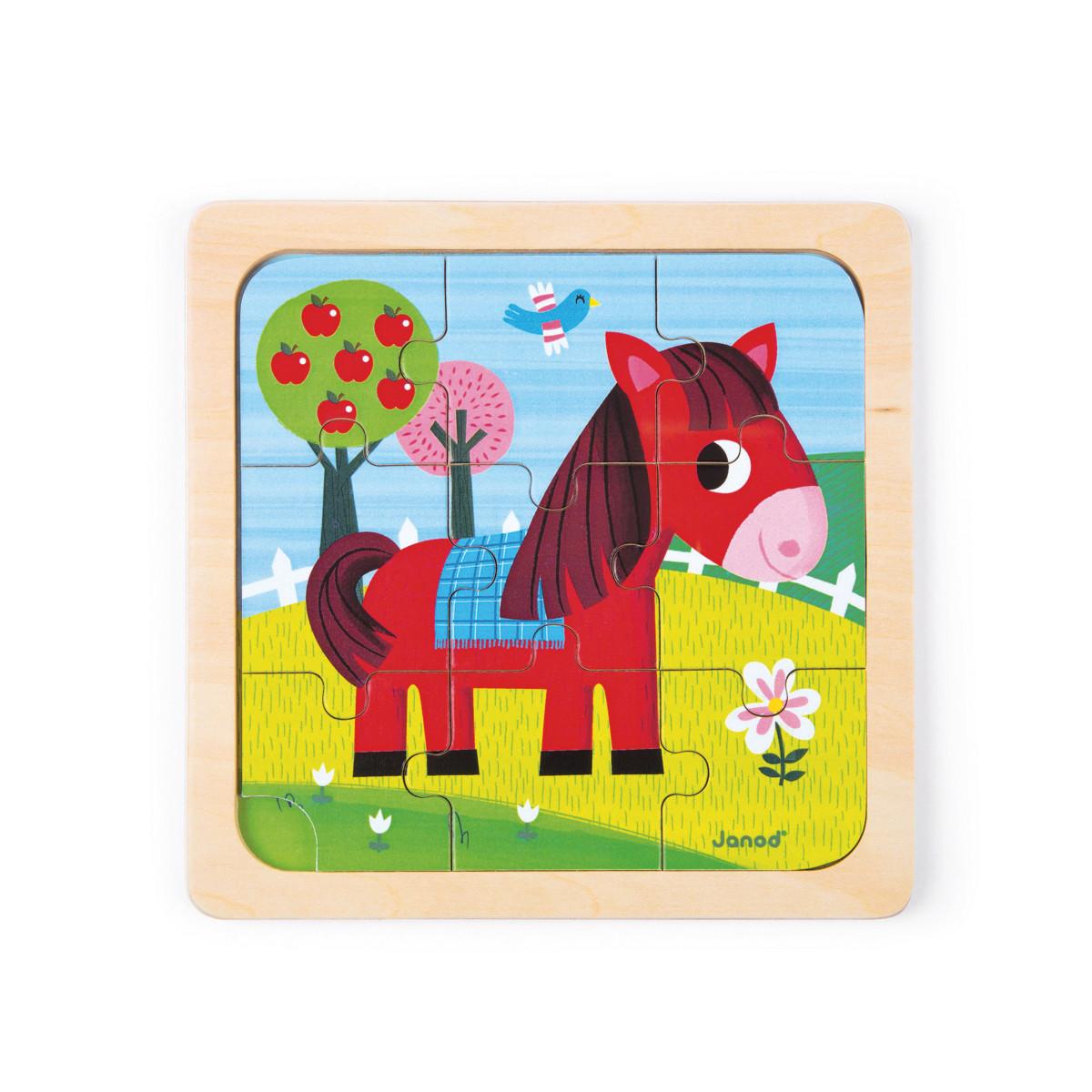Puzzle bois 9 pièces de Janod, Puzzle : Aubert
