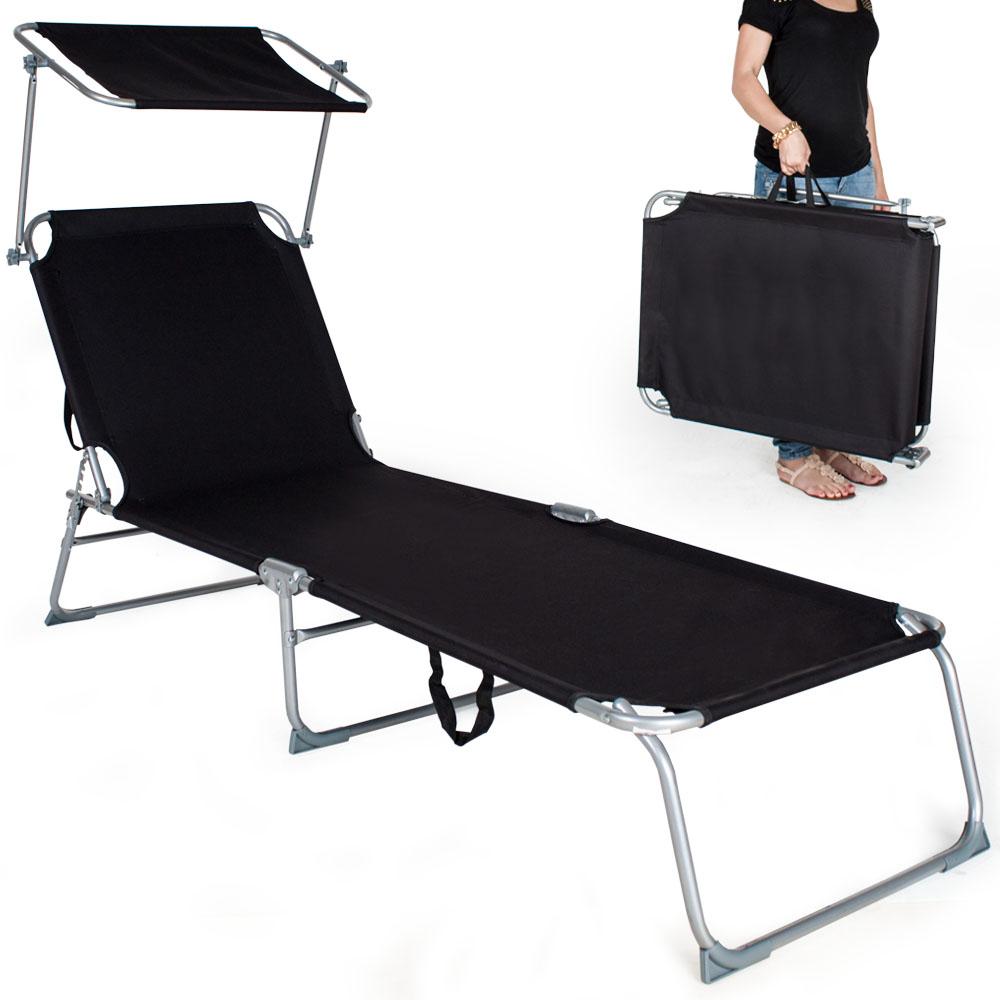 Chaise longue de jardin pliante transat bain de soleil + pare soleil