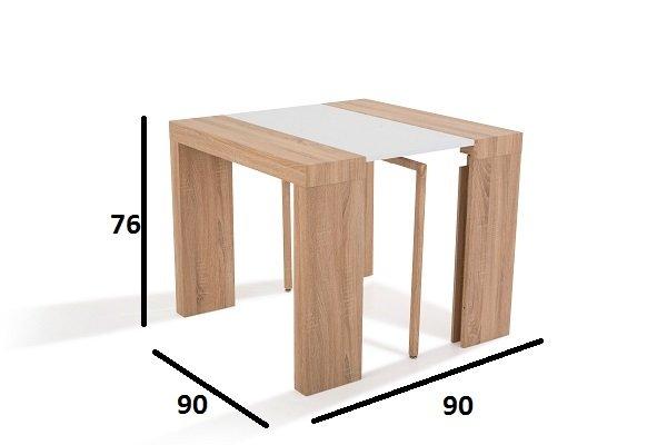 Console MOLTO chêne et blanc, extensible en table repas
