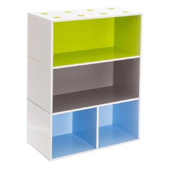 Meuble cube étageres pour enfant bleu vert marron, L 54 x P 27 x H 81