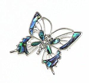 Belles incrustations ormeau naturel Paua coquillage papillon broche