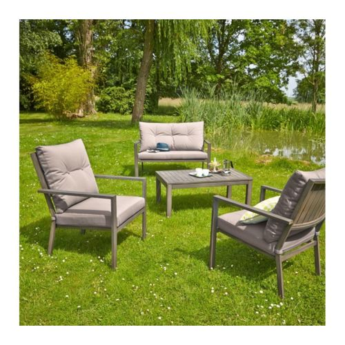 table basse + 2 fauteuils + 1 canapé Aluminium peint finition bois