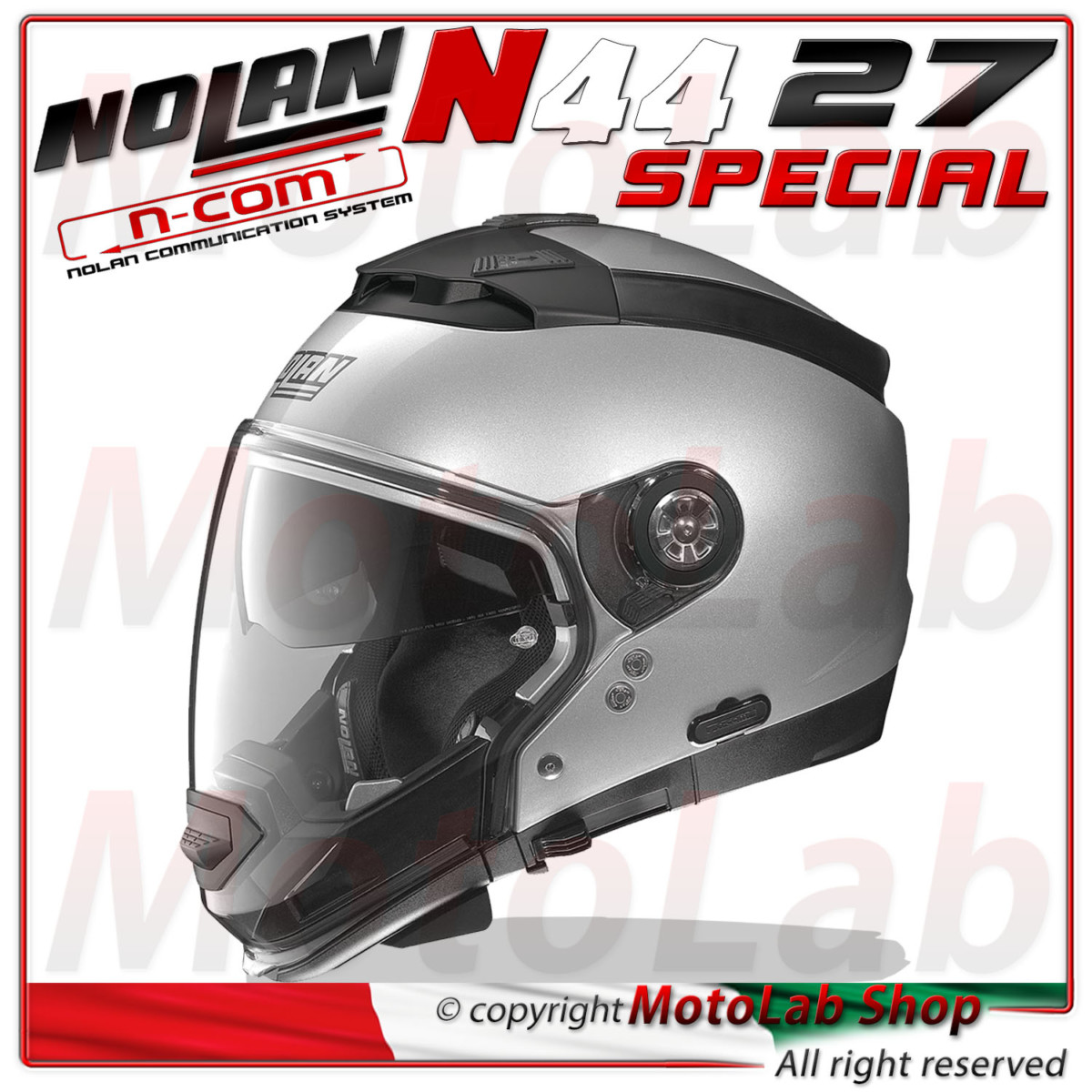 Casque Modulare Nolan N44 Special N COM 27 Salt Silver Argent Taille
