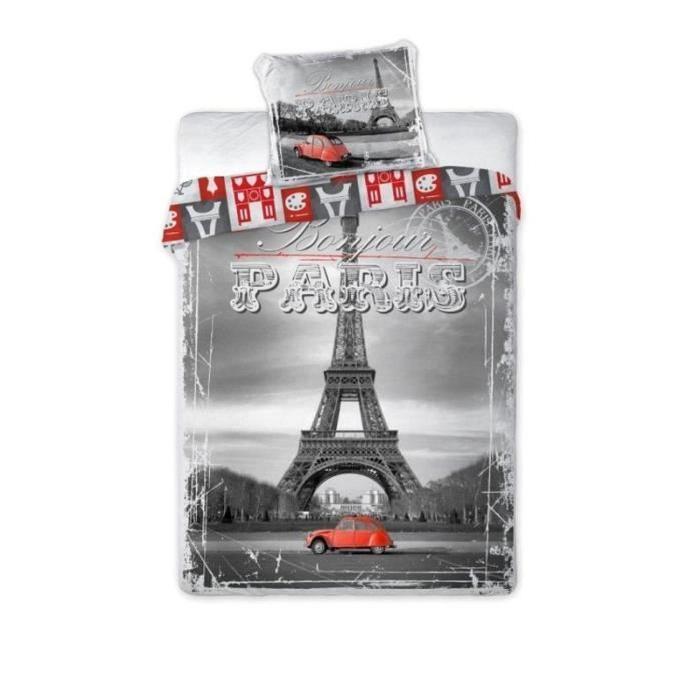 2CV ROUGE A PARIS LINGE DE LIT PARURE HOUSSE DE COUETTE 160×200 + TAIE