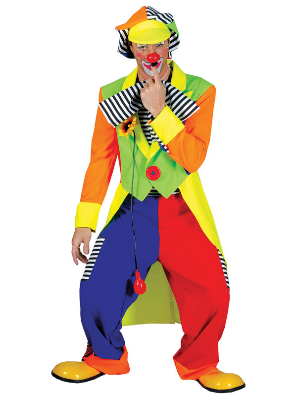 Circus costume de clown adulte Pantalon Noeud Papillon Chapeau Veste