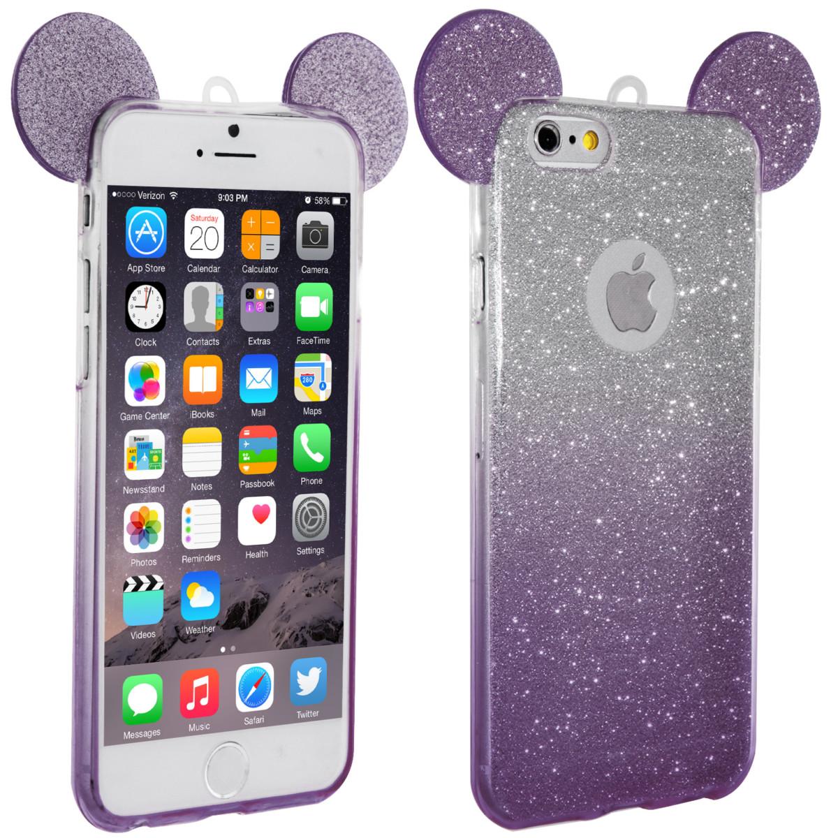 Coque Gel pailletée Glitter Oreilles de Mickey pour Apple iPhone 6 et