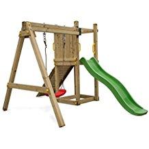 balancoire en bois avec toboggan