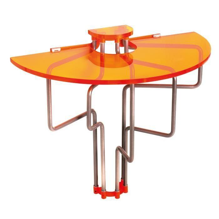 Table murale rabattable en PMMA Orange Table de cuisine pliable