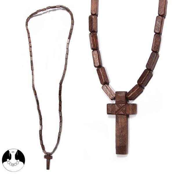 bois pour homme marron avec croix Achat / Vente sautoir et collier
