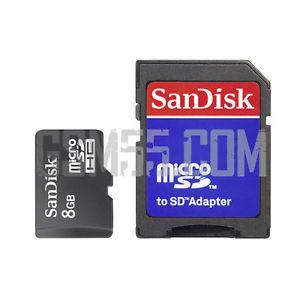 Carte Mémoire 8Go Micro SD SanDisk + Adaptateur SD pour