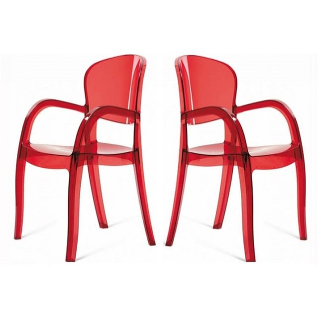 Lot de 2 chaises rouges transparentes victoria DECLIKDECO couleur