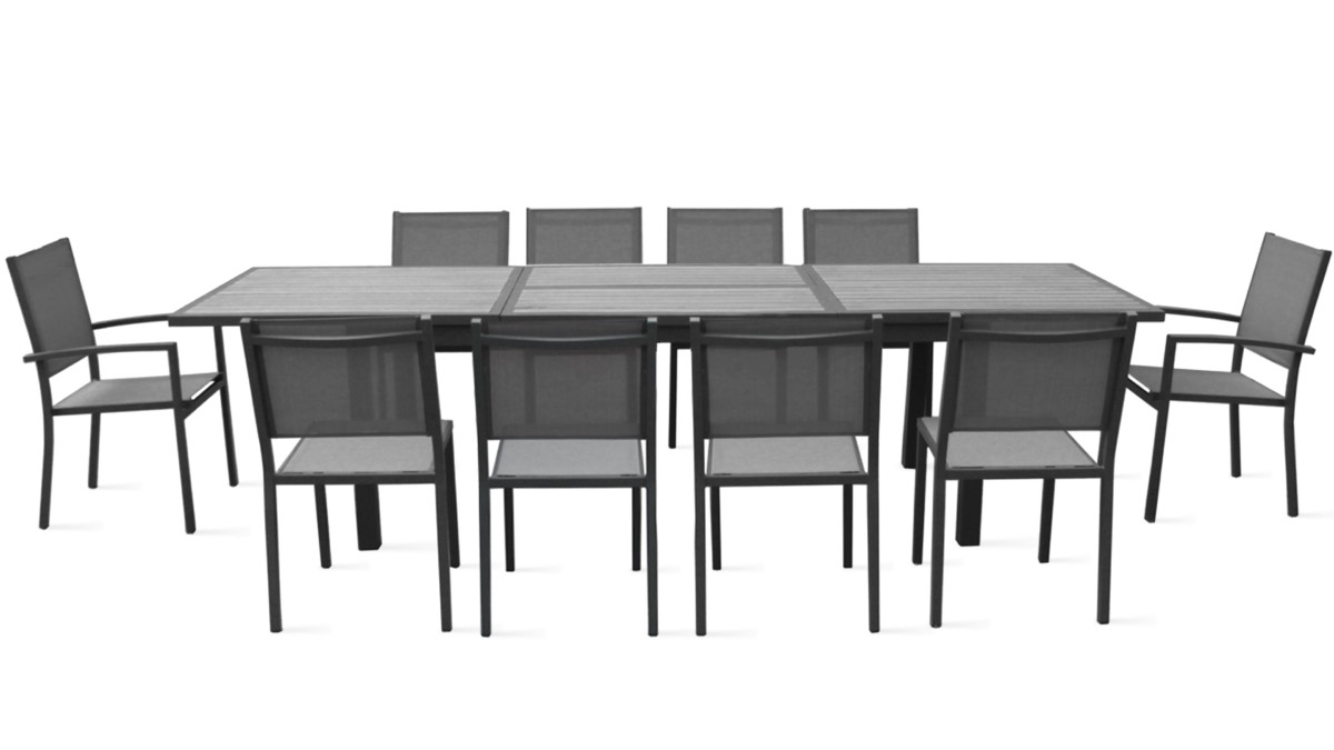 Table et chaise de jardin salon en aluminium effet bois