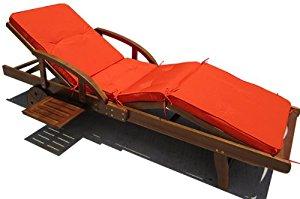 Coussin pour transat chaise longue de jardin Orange 4 segments 195 cm