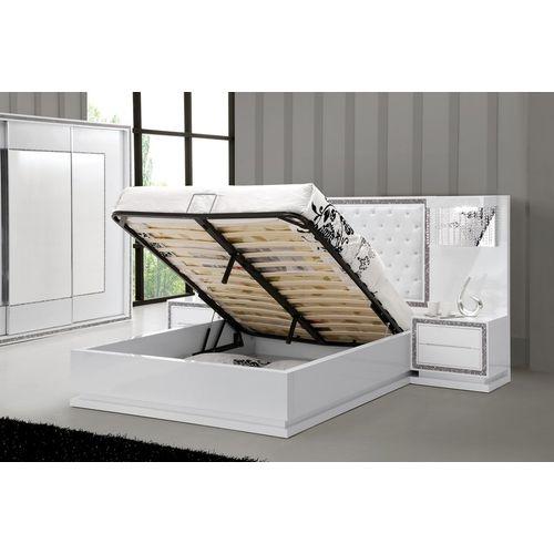 Lit design collection star avec tête de lit, coffre et sommier blanc