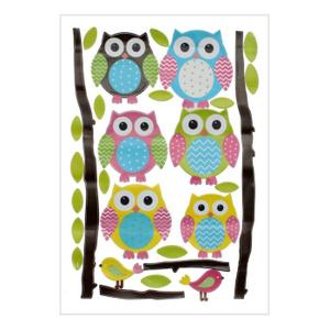 Hibous Owl Coloré Sticker Mural DIY Décoration Autocollant pr