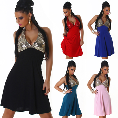 Sexy Licou Robe Mini Paillettes Saint sylvestr e De Party
