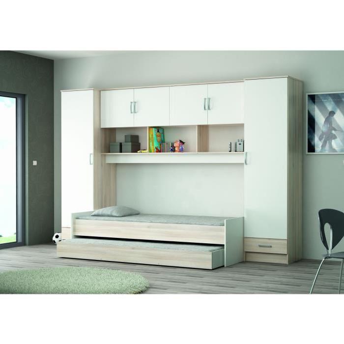 HEIDI Pont pour lit 307 cm acacia/blanc Achat / Vente tête de lit