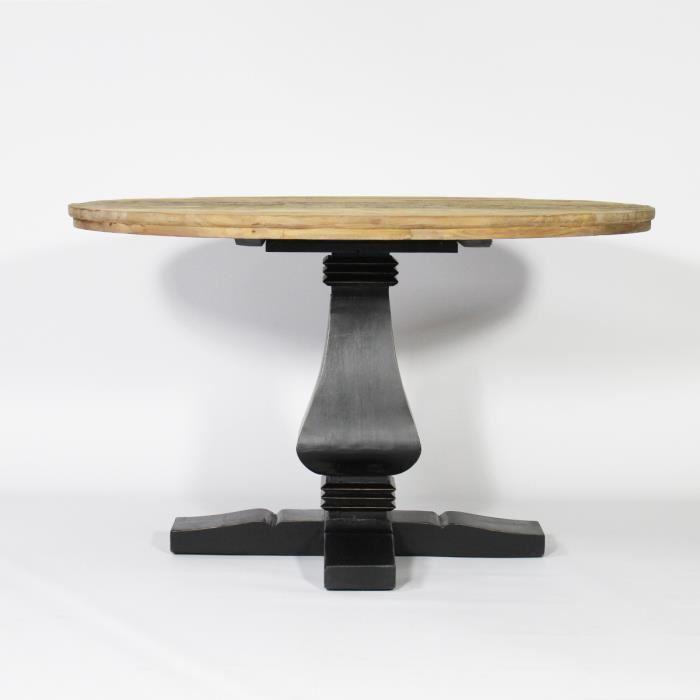 Table Ronde Baroque pied central en bois Noir Noir Partagez de