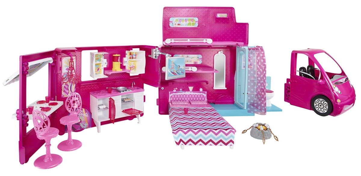 Barbie Glam Camper Dreamhouse Van Girls Pink Toy Car Home Play Set