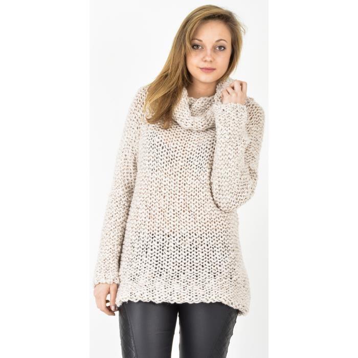Pull en laine grosse maille beige Taille unique Achat / Vente pull