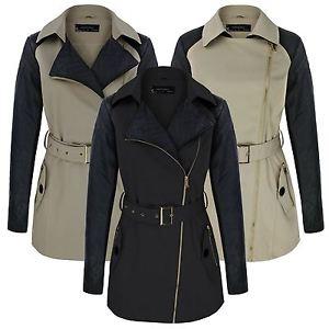 Femmes trench coat mac contraste en cuir synthetique housse pour femme