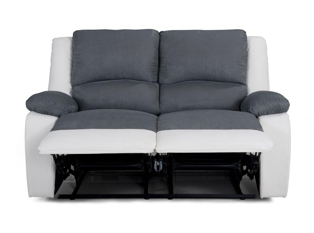 Canapé Relaxation 2 places Microfibre Grise / Simili