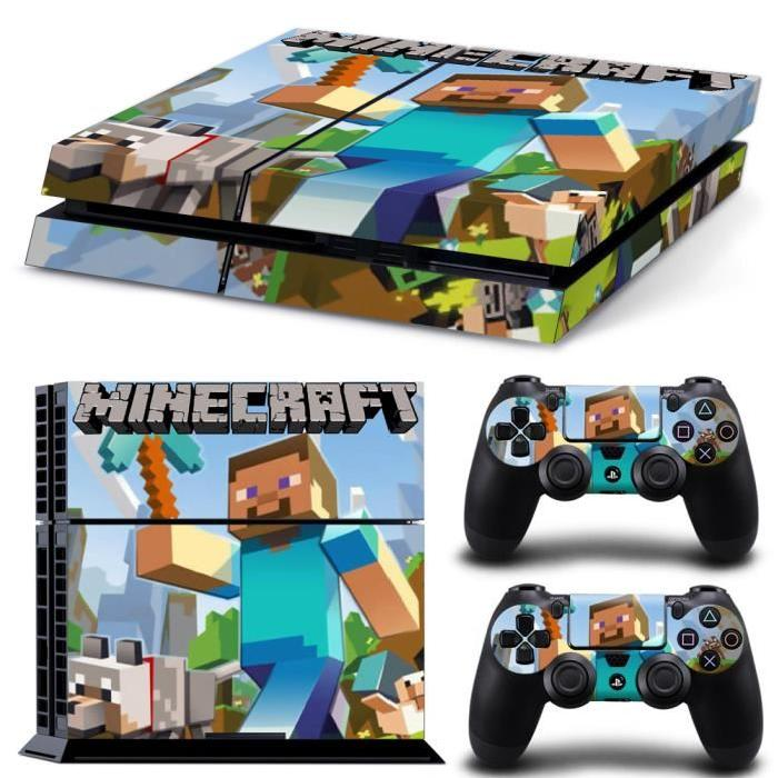 Skin autocollant motif MineCraft pour Sony PS4 Playstation 4 Console