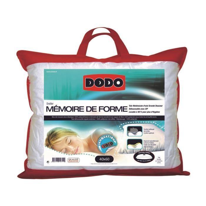DODO Oreiller Mémoire de Forme 40x60cm Achat / Vente oreiller