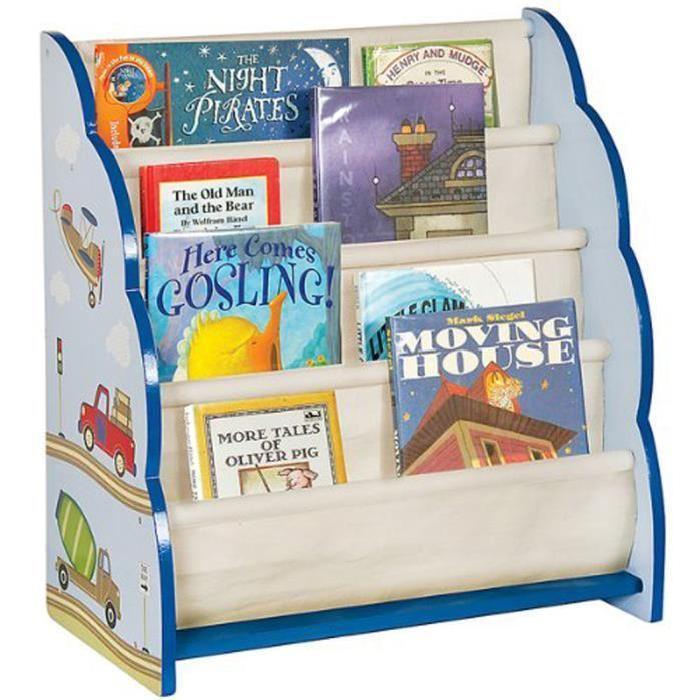 Petite bibliotheque enfants en bois motifs Vehicules, Dim : L56 x P30