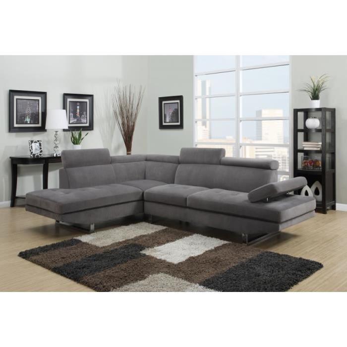 Le canapé d'angle design RUBIC gris est en tissu. Le canapé d'angle