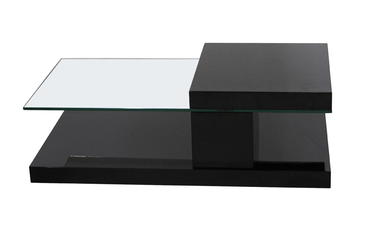 Table basse design plateau pivotant noir CLOCK