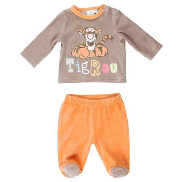BÉBÉ RÊVE Pyjama Velours Bébé Fille Marron et orange Achat
