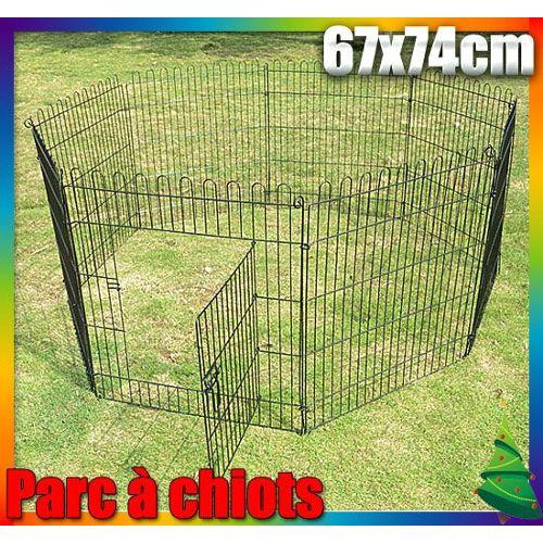 Luxe Parc Enclos A Chiens Chiots Rongeurs 8 Panneaux Cage Solide Noir