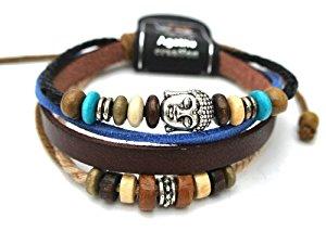 Agathe Creation Bracelet tibetain porte bonheur Cuir, chanvre et