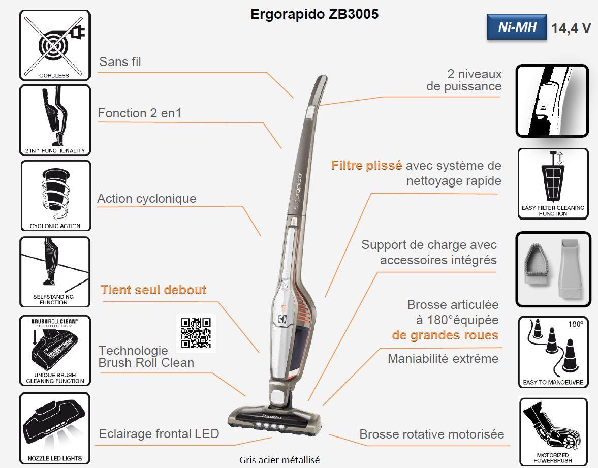 Electrolux ZB3005 Ergorapido Aspirateur Balai sans Sac Rechargeable