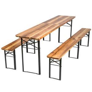 SALON DE JARDIN 1 Table et 2 Bancs en Bois de Jardin Pliants Verni