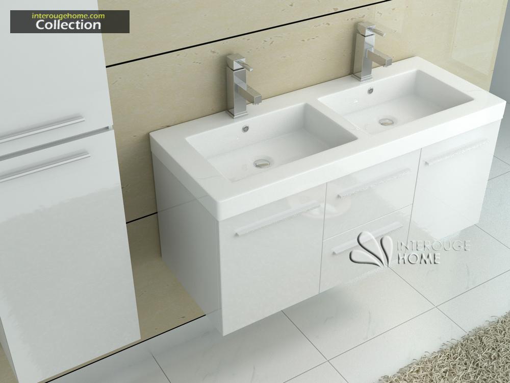 Meuble de salle de bain en bois avec double vasques coloris Blanc Réf
