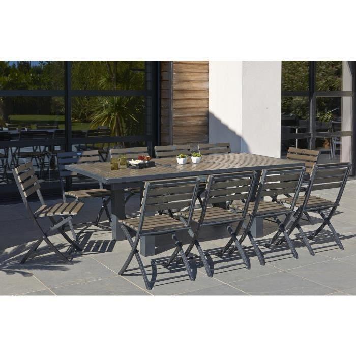 table extensible de jardin 160 220 cm + 6 chaises pliantes aluminium