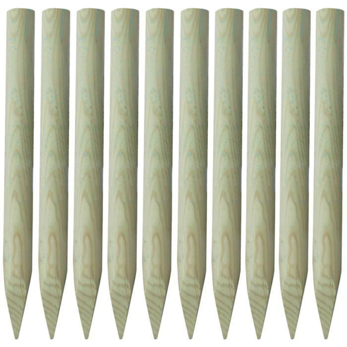 Lot de 10 piquets de clôture en bois 100 cm Achat / Vente piquet
