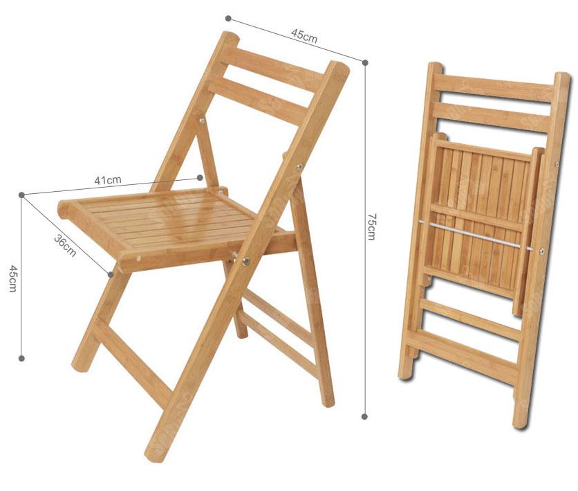 SoBuy Chaise pliante en Bois/Bambou Naturel de cuisine pliable, FST06